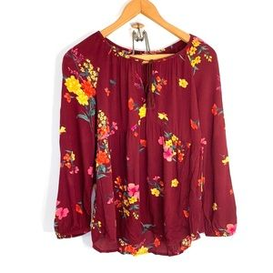 Old Navy keyhole tie front floral top